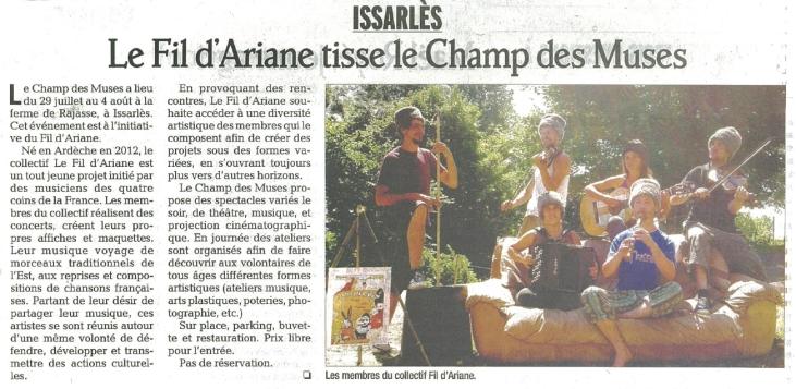 2012 Le Fil d'Ariane tisse le Champ des Muses